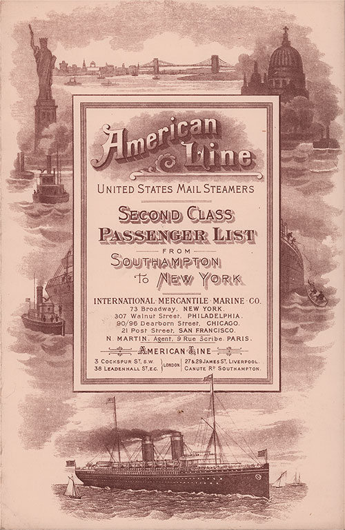 Front Cover: Second Class Passenger List for the SS Philadelphia of the American Line Dated 12 September 1903.