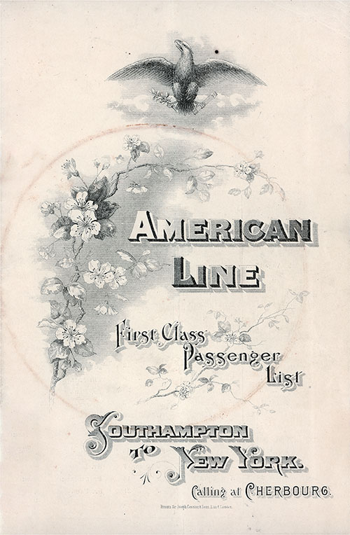 Front Cover, S.S. Philadelphia Passenger List 10 August 1907