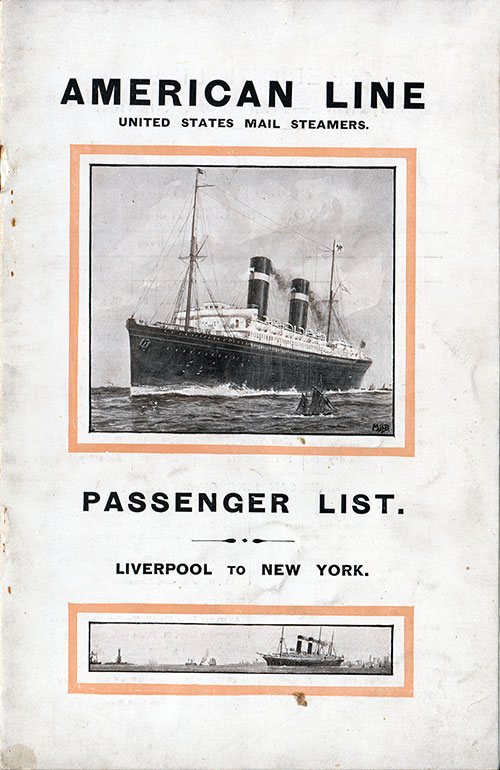 Passenger List Cover, October 1914 Westbound Voyage - SS Philadelphia