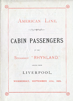 Passenger Manifest Cover, September 1895 Westbound Voyage - S.S. Rhynland