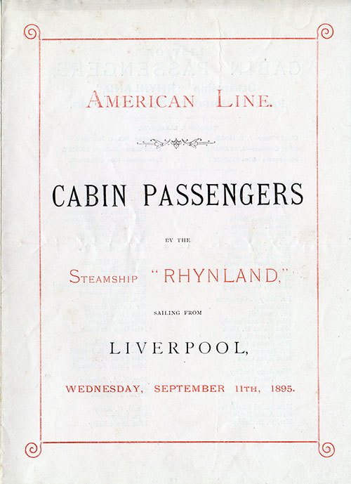 Front Cover: Cabin Class Passenger List for the SS Rhynland of the American Line Dated 11 September 1895.