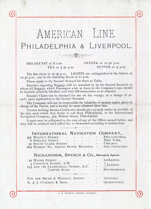 Back Cover: Cabin Class Passenger List for the SS Rhynland of the American Line Dated 11 September 1895.