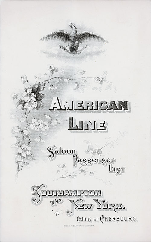 Passenger List, American Line S.S. St. Louis, 1901, Southampton to New York via Cherbourg