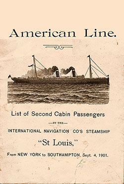Front Cover, SS St. Louis Passenger List 4 September 1901