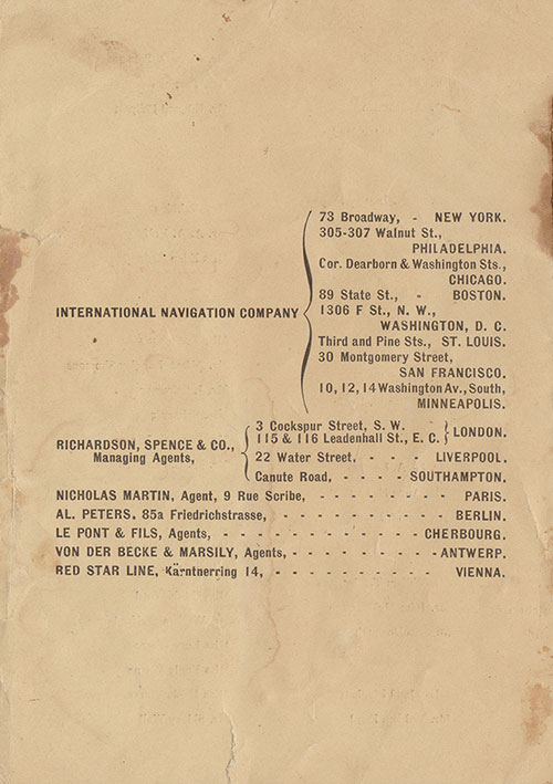 Back Cover: Second Cabin Passenger List for the SS St. Louis of the American Line Dated 4 September 1901.