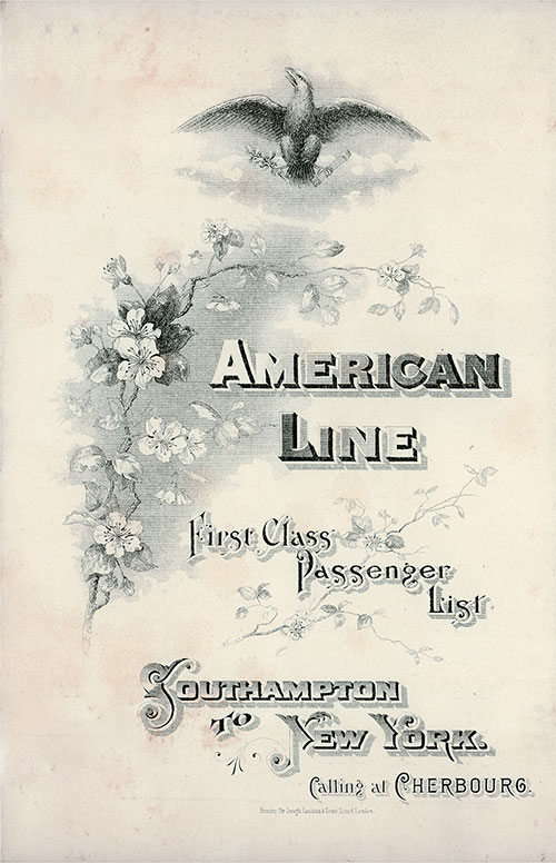Front Cover: First Class Passenger List for the SS St. Louis of the American Line Dated 26 October 1907.