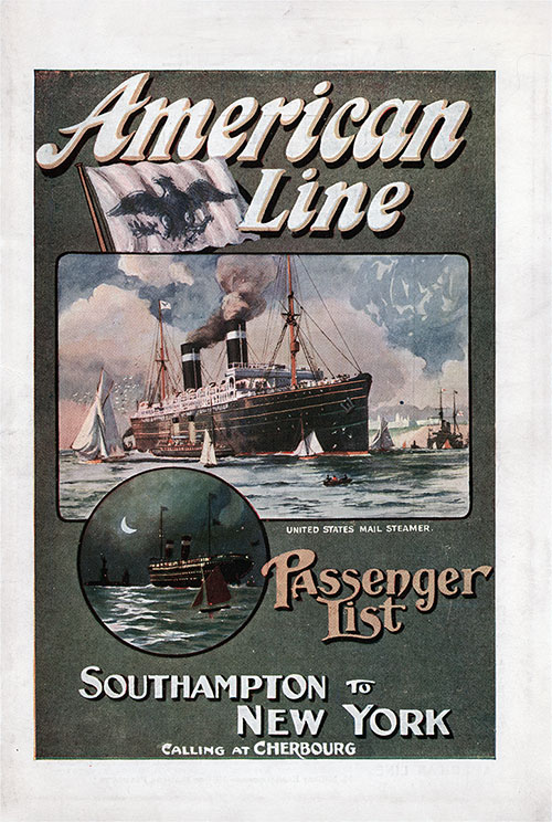 Front Cover: First Class Passenger List for the SS St. Louis of the American Line Dated 21 September 1912.
