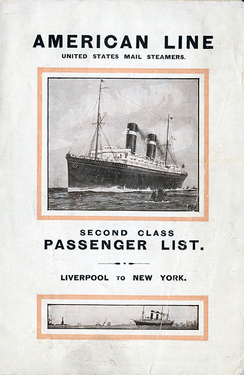 Front Cover: Second Class Passenger List for the SS St. Louis of the American Line Dated 29 May 1915.