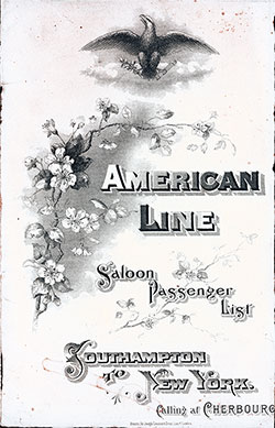 Passenger Manifest Cover, September 1901 Westbound Voyage - SS St. Paul