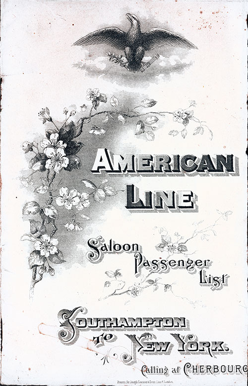 Passenger List, American Line S.S. S. Paul, 1901, Southampton to New York