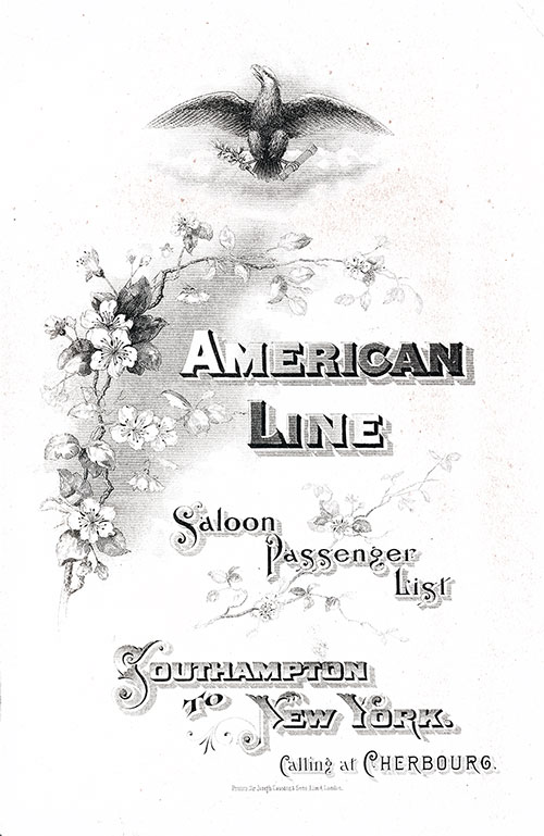 Front Cover: Saloon Class Passenger List for the SS St. Paul of the American Line Dated 6 December 1902.