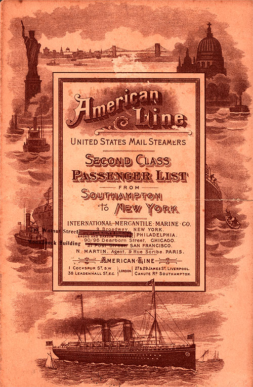 Front Cover: Second Class Passenger List for the SS St. Paul of the American Line Dated 20 July 1907.
