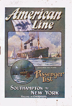 Passenger Manifest Cover, 15 July 1911 Westbound Voyage - SS St. Paul