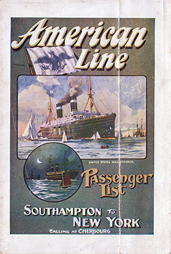 Passenger Manifest Cover, August 1911 Westbound Voyage - SS St. Paul