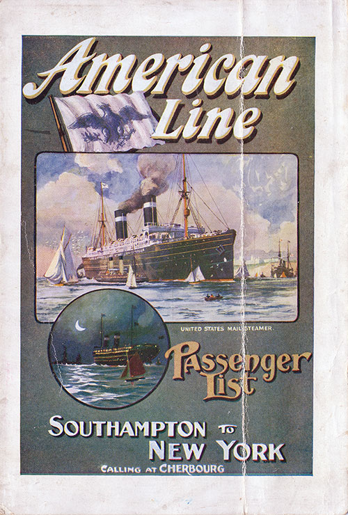 Passenger List Cover, August 1911 Westbound Voyage - SS St. Paul