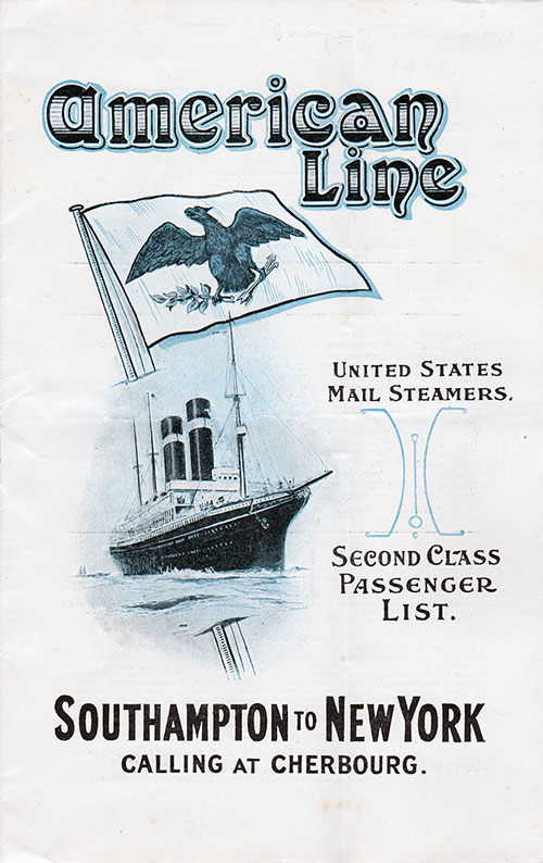 Passenger List, American Line S.S. St. Paul, 1914, Southampton & Cherbourg to New York