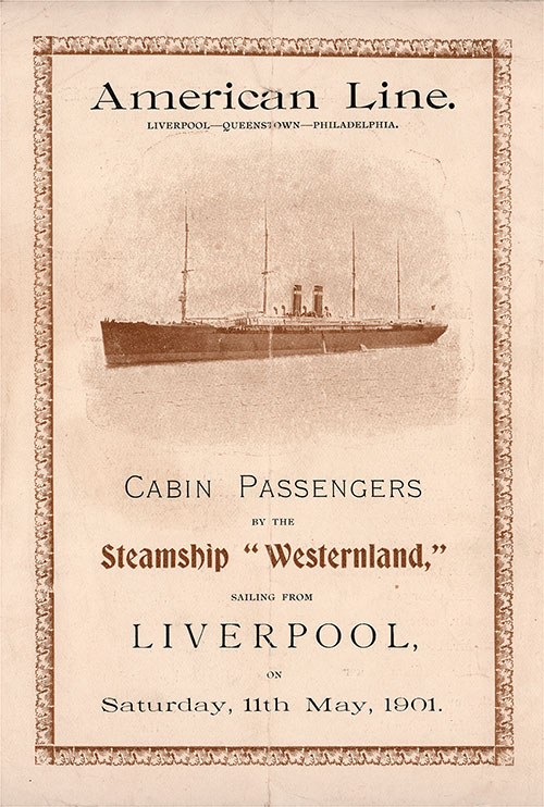 Front Cover: Cabin Class Passenger List for the SS Westernland of the American Line Dated 11 May 1901.