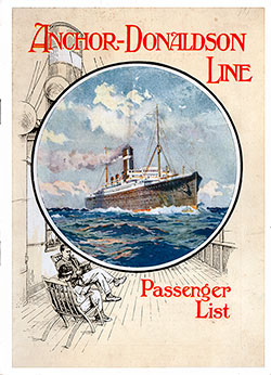 Front Cover: Cabin Class Passenger List for the SS Athenia of the Anchor-Donaldson Line Dated 8 May 1925.