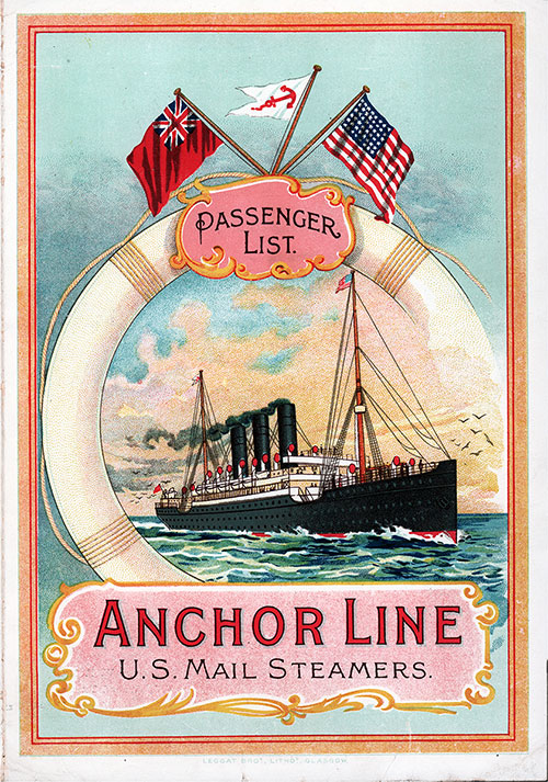 Front Cover, Cabin Class Passenger List from the SS Anchoria of the Anchor Line dated 4 June 1903.