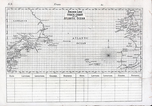 Back Cover, Track Chart from Cabin Class Passenger List of the SS Anchoria dated 4 June 1903.