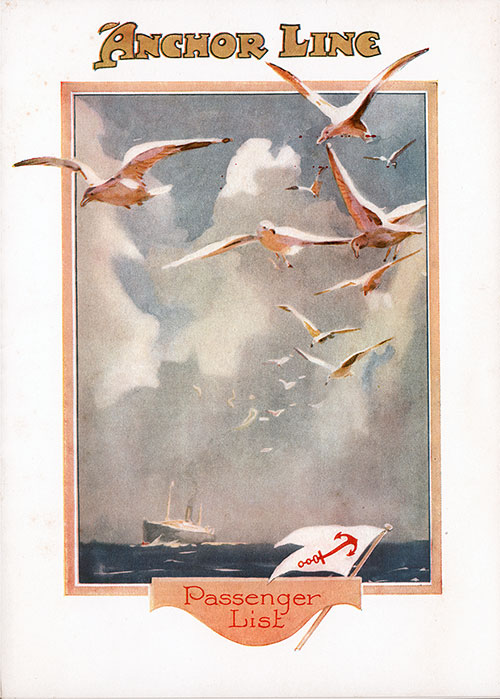 Front Cover, SS Assyria Passenger List 26 August 1922