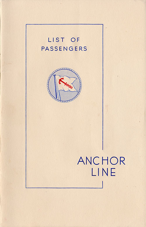 Front Cover, S.S. Caledonia Passenger List 26 August 1938