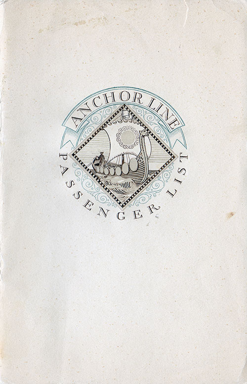 Front Cover - 14 September 1929 Passenger List, TSS California, Anchor Line