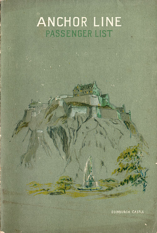 Front Cover, S.S. California Passenger List 24 May 1930