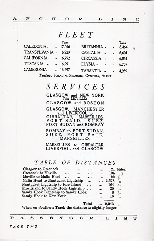 Anchor Line Fleet, Services, and Table of Distances