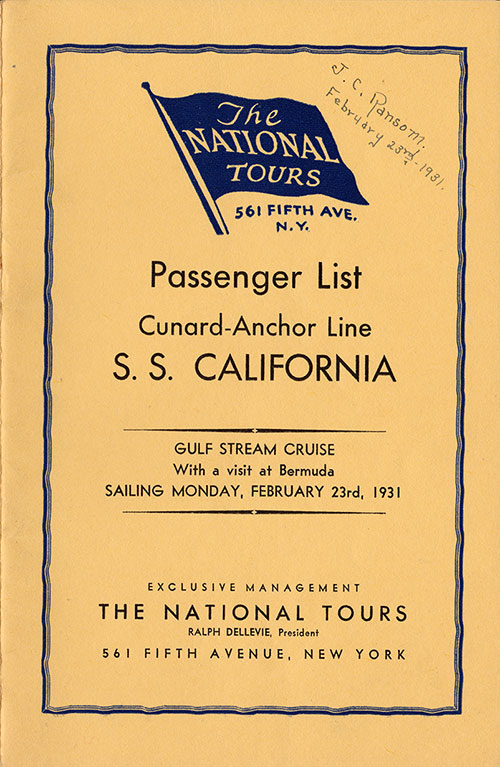 Front Cover - 23 February 1931 Bermuda Cruise Passenger List, S.S. California, Anchor Line
