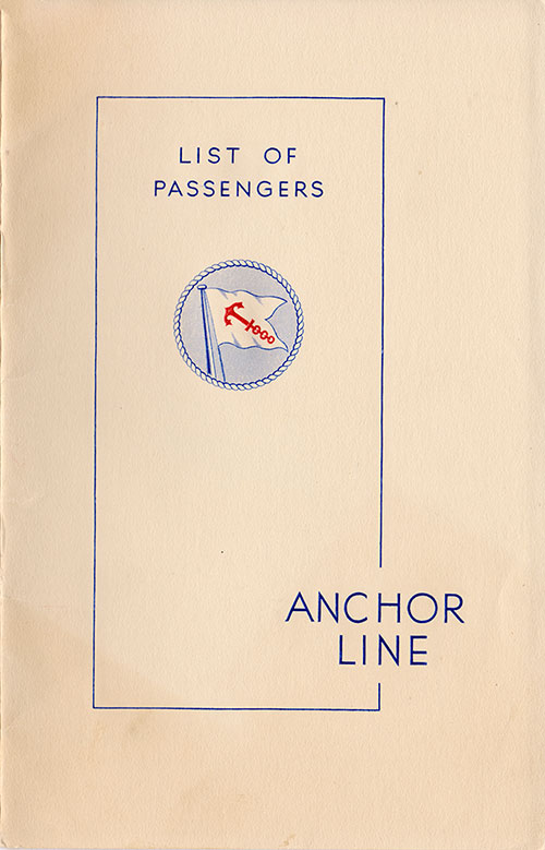 Front Cover - 22 July 1938 Passenger List, T.S.S. California, Anchor Line