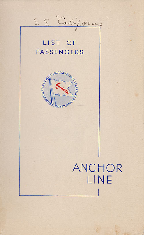Front Cover, SS California Passenger List - 19 August 1938