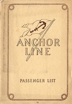 Passenger Manifest, Anchor Line SS Cameronia, 1927-07-02