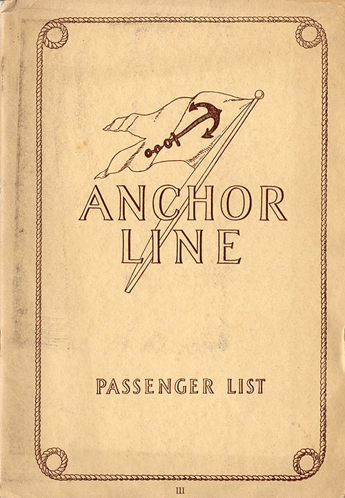 Front Cover, SS Cameronia Passenger List - 2 July 1927