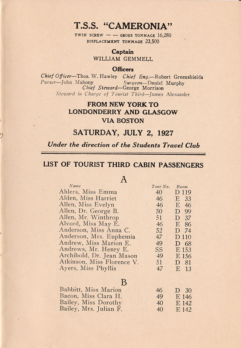 Title Page and Beginning of Passenger Listing, SS Cameronia Passenger List - 2 July 1927
