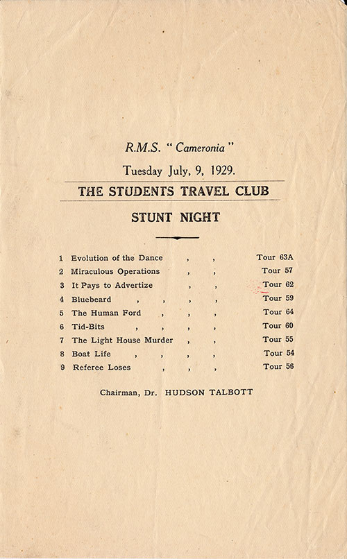 Stunt Night - The Student Travel Club - 9 July 1929