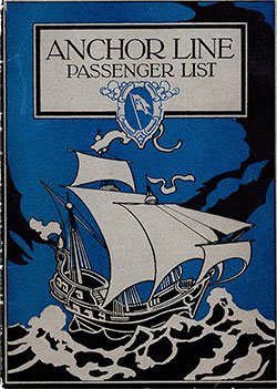 Front Cover, Anchor Line SS City Of London Cabin Passenger List - 19 August 1922.