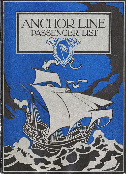 Front Cover - 23 August 1923 Passenger List, TSS Columbia, Anchor Line