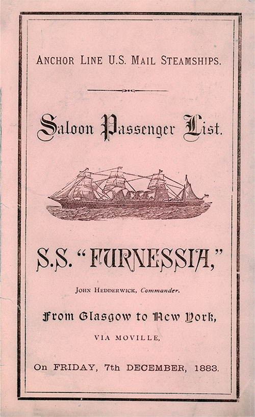 Front Cover, S.S. Furnessia Passenger List 7 December 1883