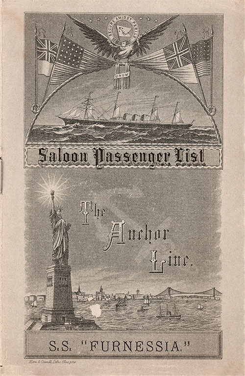 Front Cover - 23 August 1888 Passenger List, S.S. Furnessia, Anchor Line