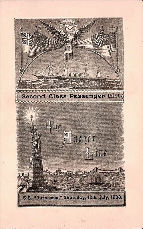 Passenger List, Anchor Line SS Furnessia, 1900, Glasgow, Scotland to New York