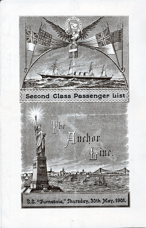 Front Cover, S.S. Furnessia Passenger List 30 May 1901
