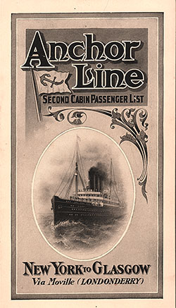 Passenger Manifest, Anchor Line S.S. Furnessia, 1910