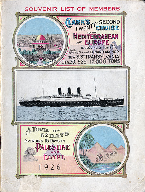 Front Cover, S.S. Transylvania Passenger List 30 January 1926