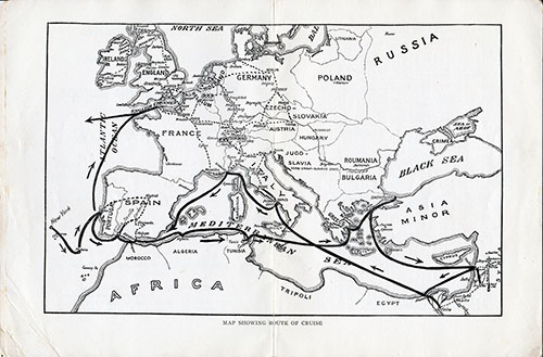 Route Map of Cruise Voyage - S.S. Transylvania 1926
