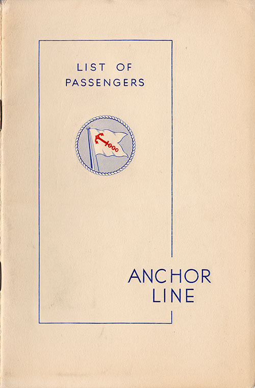 Front Cover - 11 September 1936 Passenger List, S.S. Transylvania, Anchor Line