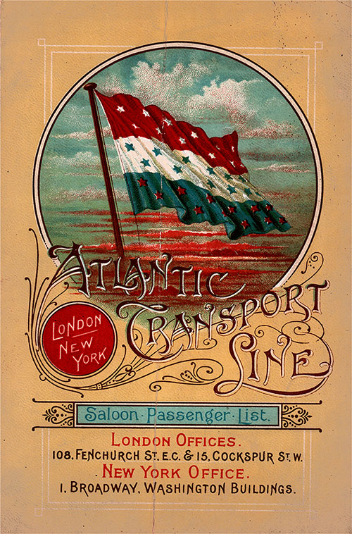 Front Cover, Saloon Passenger List for the SS Marquette, 1 June 1899 of the Atlantic Transport Line.