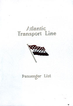 Front Cover, Atlantic Transport Line SS Minnetonka First Class Passenger List - 23 May 1914.