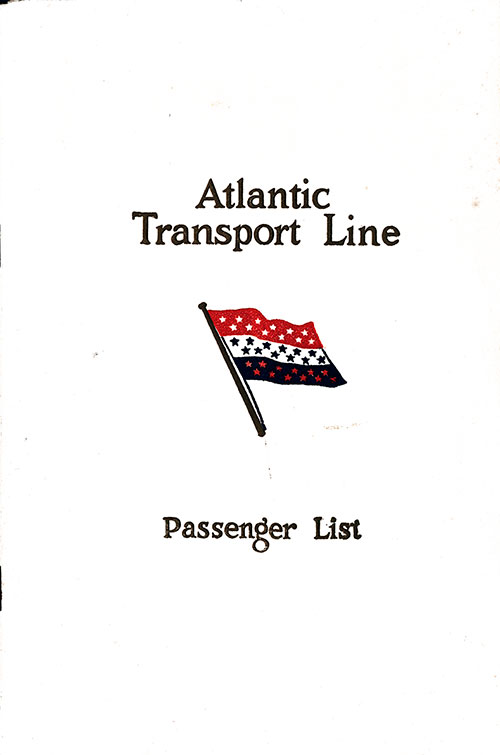 Front Cover, Atlantic Transport Line SS Minnewaska First Class Passenger List - 2 August 1930.