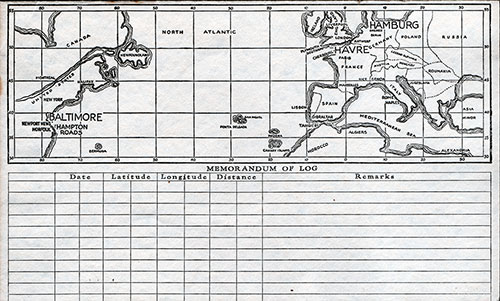 Track Chart, SS City of Hamburg Passenger List - 17 March 1934